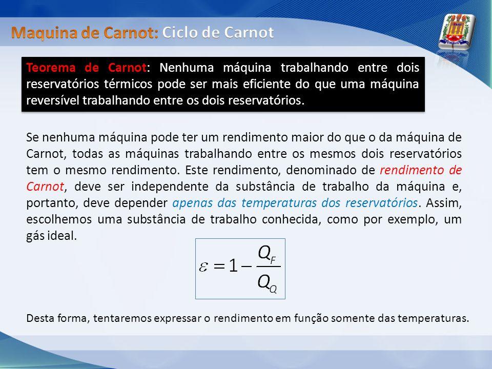 Teorema de Carnot: Nenhuma máquina trabalhando entre dois reservatórios térmicos pode ser mais eficiente do que uma máquina reversível trabalhando ent