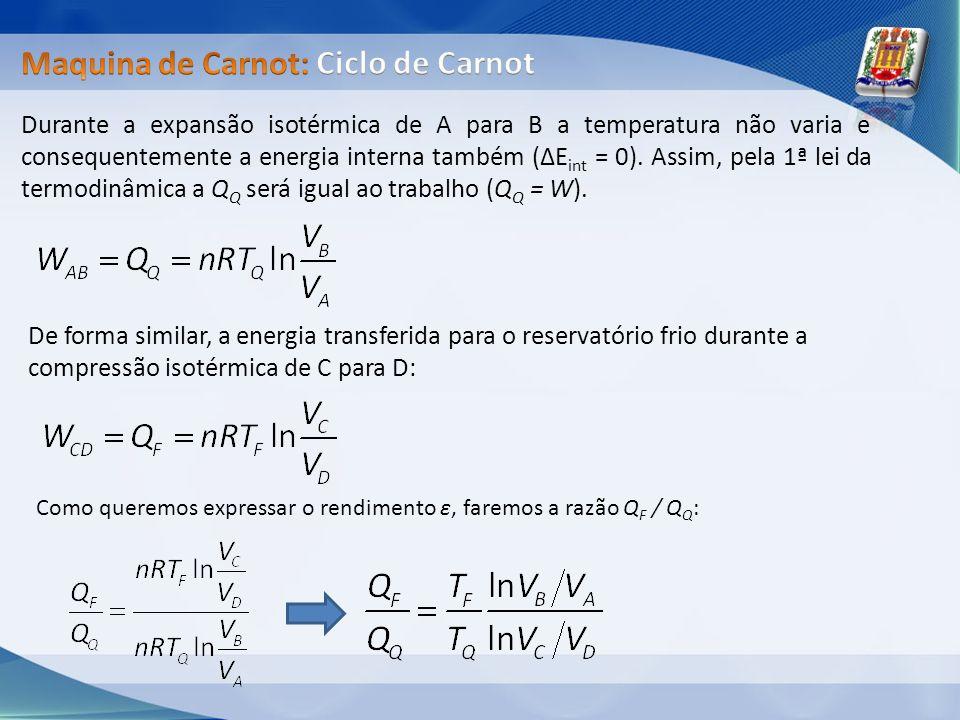 Durante a expansão isotérmica de A para B a temperatura não varia e consequentemente a energia interna também (ΔE int = 0). Assim, pela 1ª lei da term