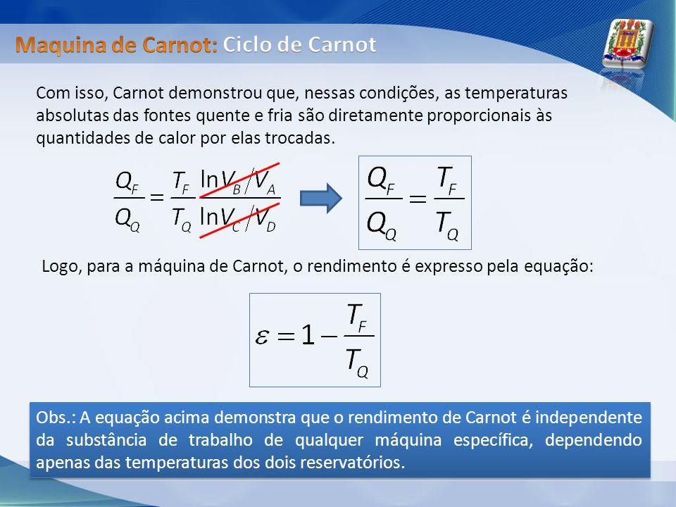 Com isso, Carnot demonstrou que, nessas condições, as temperaturas absolutas das fontes quente e fria são diretamente proporcionais às quantidades de