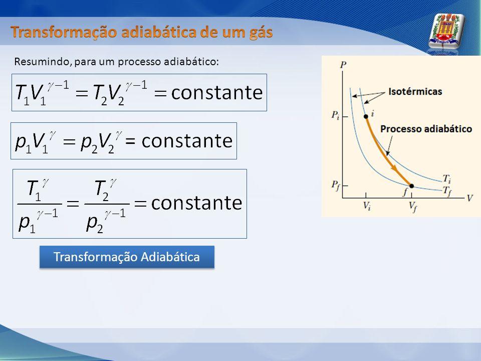 Resumindo, para um processo adiabático: Transformação Adiabática