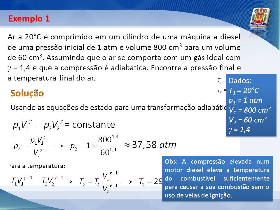Ar a 20°C é comprimido em um cilindro de uma máquina a diesel de uma pressão inicial de 1 atm e volume 800 cm 3 para um volume de 60 cm 3. Assumindo q