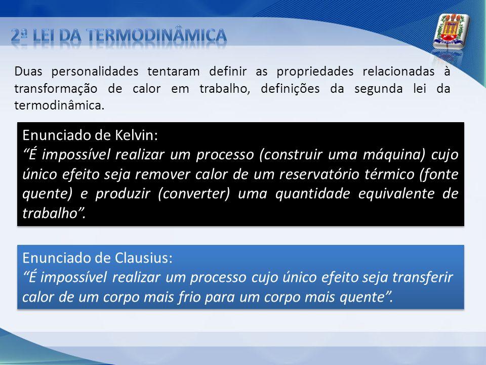 Duas personalidades tentaram definir as propriedades relacionadas à transformação de calor em trabalho, definições da segunda lei da termodinâmica. En
