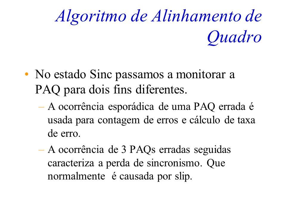 Algoritmo de Alinhamento de Quadro O estado Presinc é aquele que irá comparar a PAQ com o byte correspondente apontado pelo Hunt. Ou seja 64 Intervalo