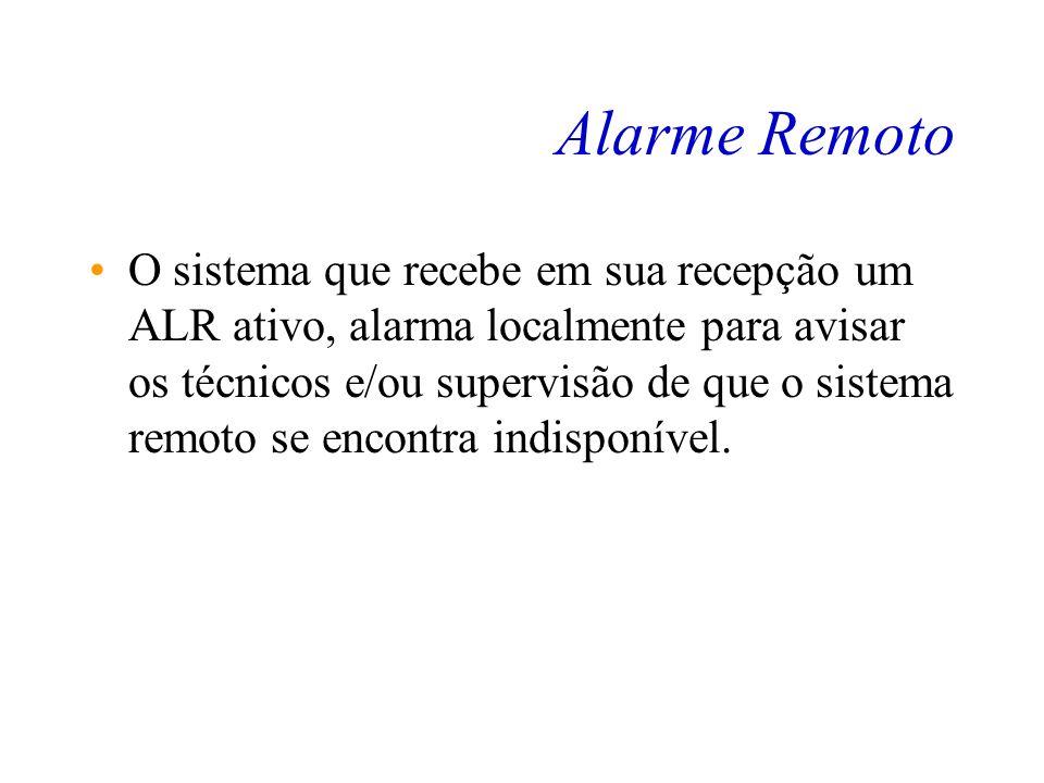 Alarme Remoto O ALR é codificado assim: –0 representa alarme –1 representa funcionamento normal. Quando um sistema se encontra indisponível, este alar