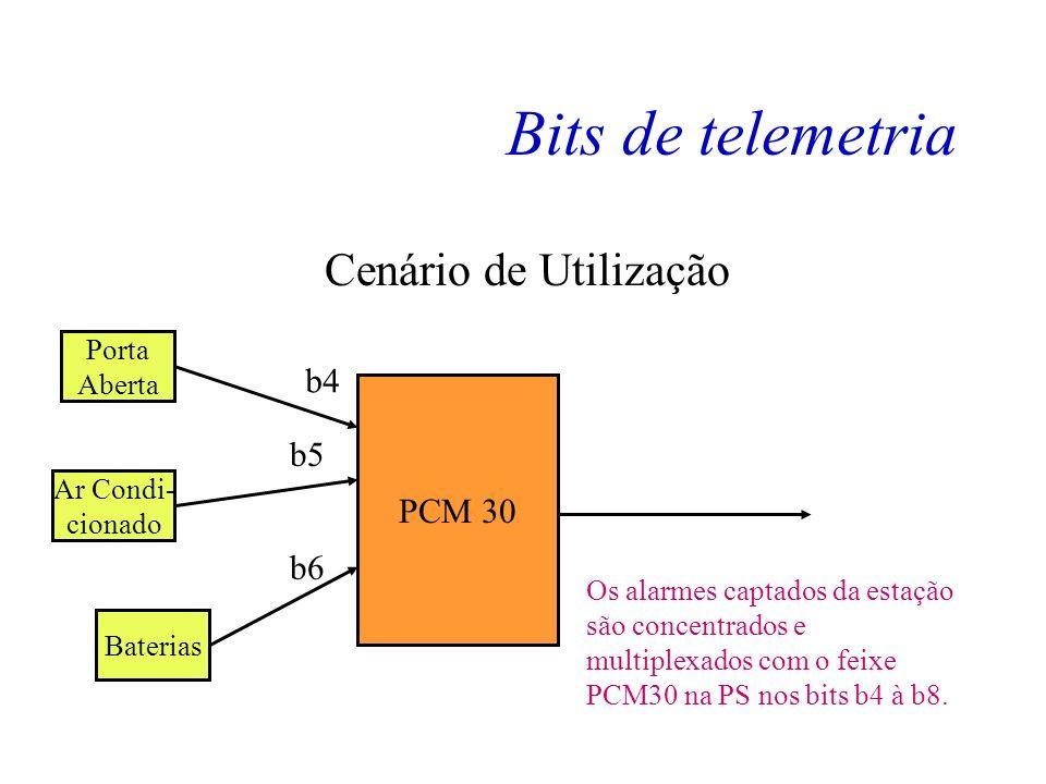 Bits de telemetria Os bits de 4 à 8 (cinco bits) são usados para telemetria, ou seja são usados para transportar dados que podem ser desde alarmes de