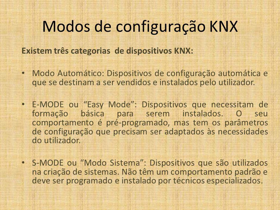 Modos de configuração KNX Existem três categorias de dispositivos KNX: Modo Automático: Dispositivos de configuração automática e que se destinam a se