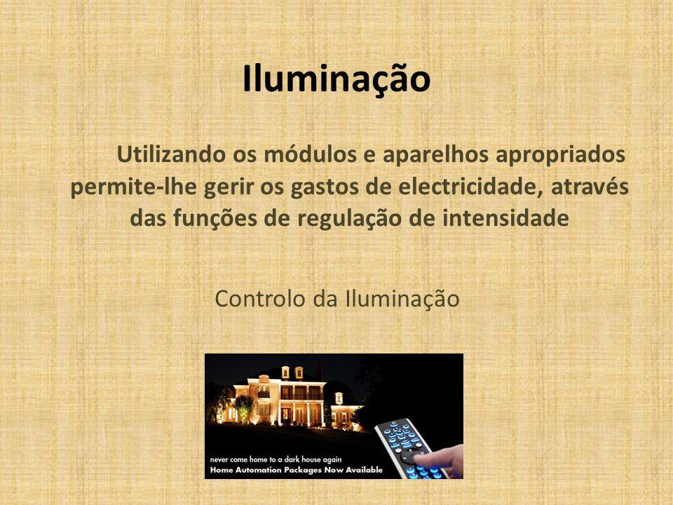 Iluminação Utilizando os módulos e aparelhos apropriados permite-lhe gerir os gastos de electricidade, através das funções de regulação de intensidade