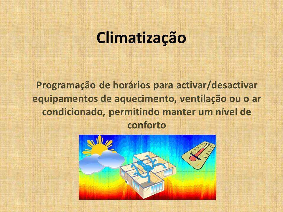 Climatização Programação de horários para activar/desactivar equipamentos de aquecimento, ventilação ou o ar condicionado, permitindo manter um nível