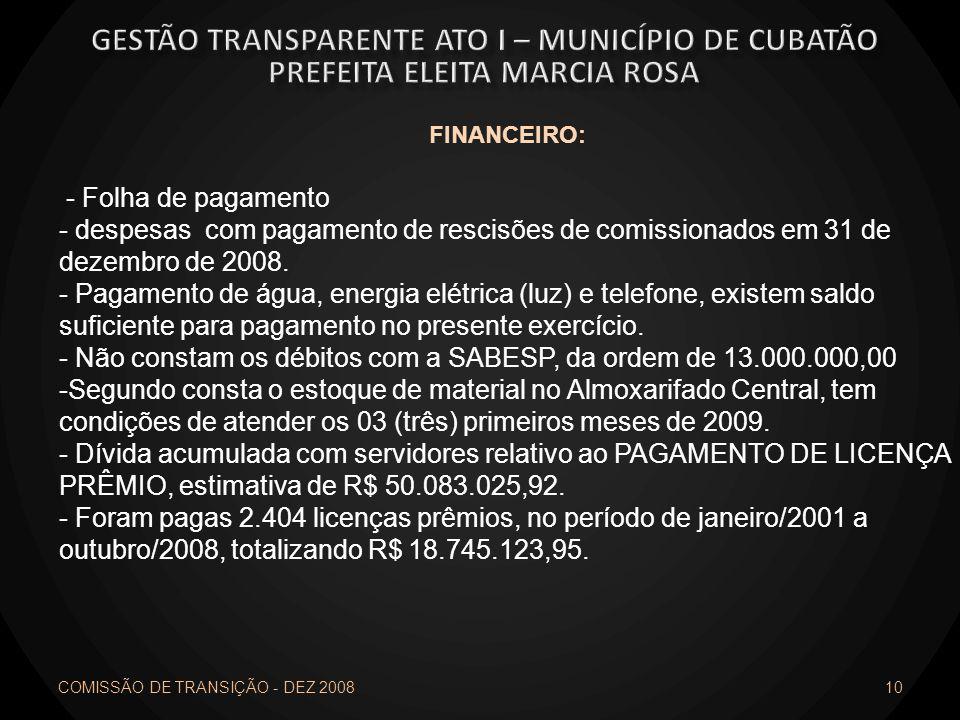 10 FINANCEIRO: - Folha de pagamento - despesas com pagamento de rescisões de comissionados em 31 de dezembro de 2008. - Pagamento de água, energia elé