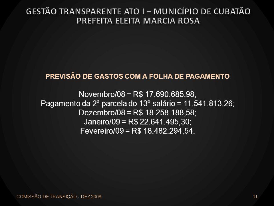 COMISSÃO DE TRANSIÇÃO - DEZ 2008 11 PREVISÃO DE GASTOS COM A FOLHA DE PAGAMENTO Novembro/08 = R$ 17.690.685,98; Pagamento da 2ª parcela do 13º salário