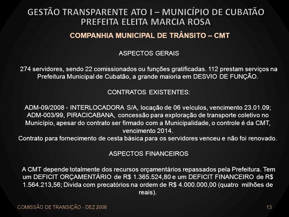 COMISSÃO DE TRANSIÇÃO - DEZ 2008 13 COMPANHIA MUNICIPAL DE TRÂNSITO – CMT ASPECTOS GERAIS 274 servidores, sendo 22 comissionados ou funções gratificad
