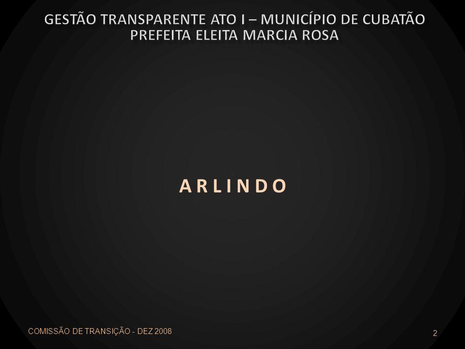 A R L I N D O 2 COMISSÃO DE TRANSIÇÃO - DEZ 2008