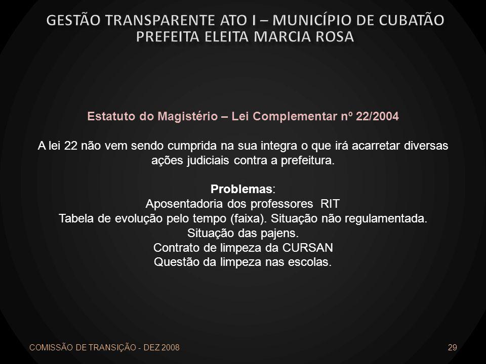 COMISSÃO DE TRANSIÇÃO - DEZ 2008 29 Estatuto do Magistério – Lei Complementar nº 22/2004 A lei 22 não vem sendo cumprida na sua integra o que irá acar