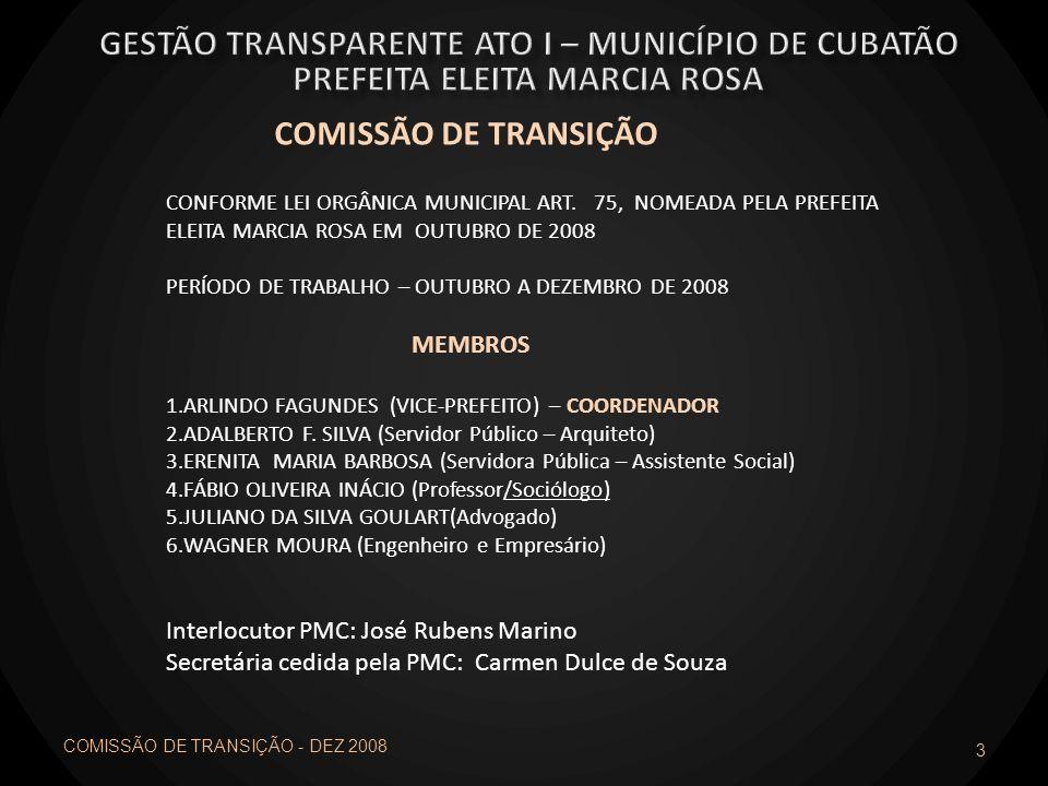 3 COMISSÃO DE TRANSIÇÃO CONFORME LEI ORGÂNICA MUNICIPAL ART. 75, NOMEADA PELA PREFEITA ELEITA MARCIA ROSA EM OUTUBRO DE 2008 PERÍODO DE TRABALHO – OUT