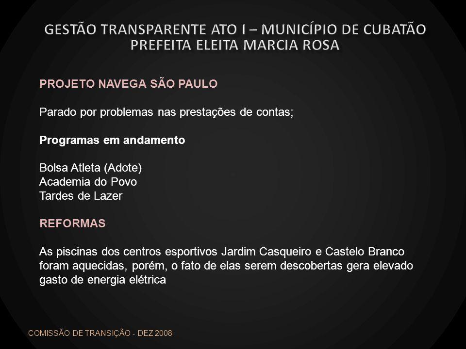 PROJETO NAVEGA SÃO PAULO Parado por problemas nas prestações de contas; Programas em andamento Bolsa Atleta (Adote) Academia do Povo Tardes de Lazer R