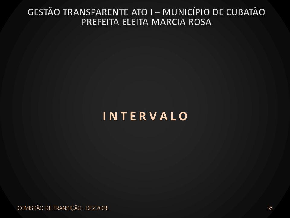 I N T E R V A L O COMISSÃO DE TRANSIÇÃO - DEZ 2008 35