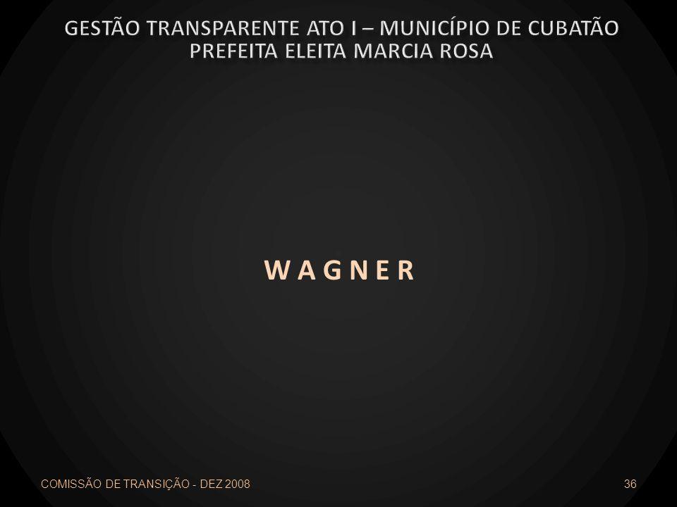 W A G N E R COMISSÃO DE TRANSIÇÃO - DEZ 2008 36