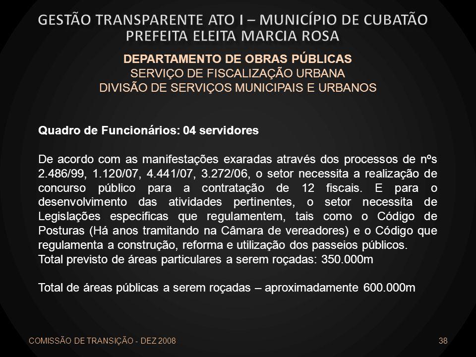 COMISSÃO DE TRANSIÇÃO - DEZ 2008 38 DEPARTAMENTO DE OBRAS PÚBLICAS SERVIÇO DE FISCALIZAÇÃO URBANA DIVISÃO DE SERVIÇOS MUNICIPAIS E URBANOS Quadro de F