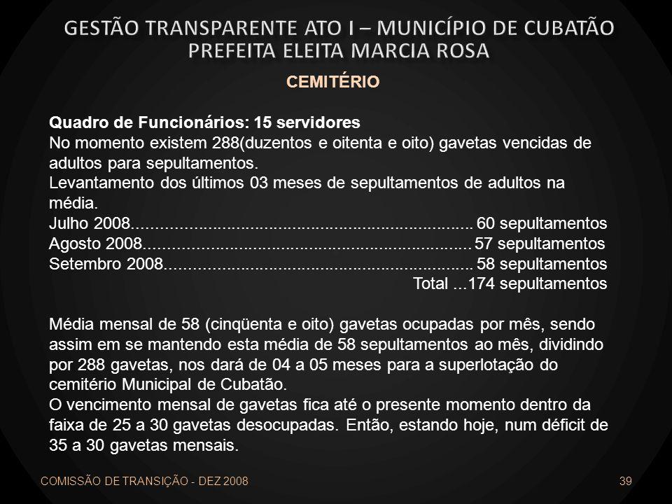 COMISSÃO DE TRANSIÇÃO - DEZ 2008 39 CEMITÉRIO Quadro de Funcionários: 15 servidores No momento existem 288(duzentos e oitenta e oito) gavetas vencidas