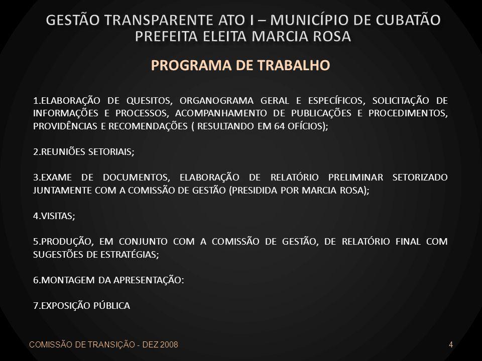 4 PROGRAMA DE TRABALHO 1.ELABORAÇÃO DE QUESITOS, ORGANOGRAMA GERAL E ESPECÍFICOS, SOLICITAÇÃO DE INFORMAÇÕES E PROCESSOS, ACOMPANHAMENTO DE PUBLICAÇÕE