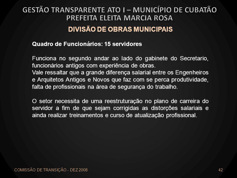 COMISSÃO DE TRANSIÇÃO - DEZ 2008 42 DIVISÃO DE OBRAS MUNICIPAIS Quadro de Funcionários: 15 servidores Funciona no segundo andar ao lado do gabinete do