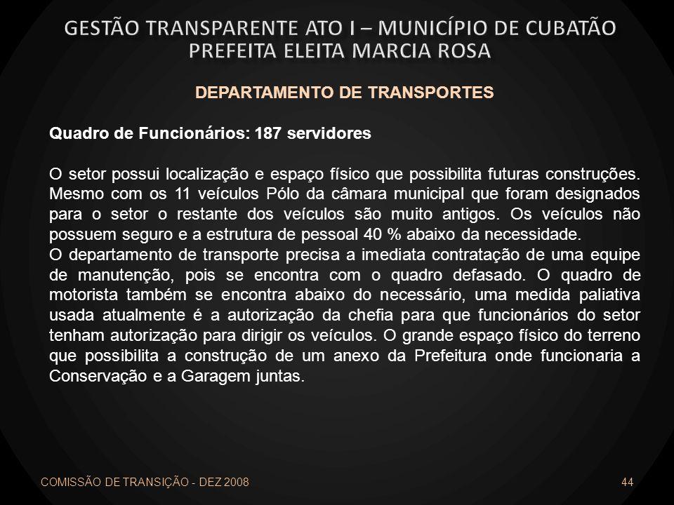 COMISSÃO DE TRANSIÇÃO - DEZ 2008 44 DEPARTAMENTO DE TRANSPORTES Quadro de Funcionários: 187 servidores O setor possui localização e espaço físico que