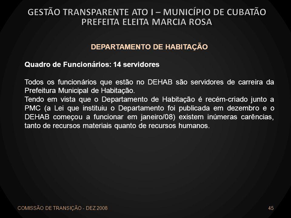 COMISSÃO DE TRANSIÇÃO - DEZ 2008 45 DEPARTAMENTO DE HABITAÇÃO Quadro de Funcionários: 14 servidores Todos os funcionários que estão no DEHAB são servi