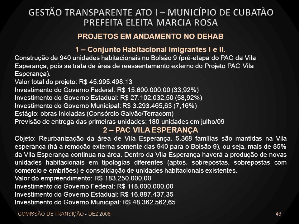 COMISSÃO DE TRANSIÇÃO - DEZ 2008 46 PROJETOS EM ANDAMENTO NO DEHAB 1 – Conjunto Habitacional Imigrantes I e II. Construção de 940 unidades habitaciona