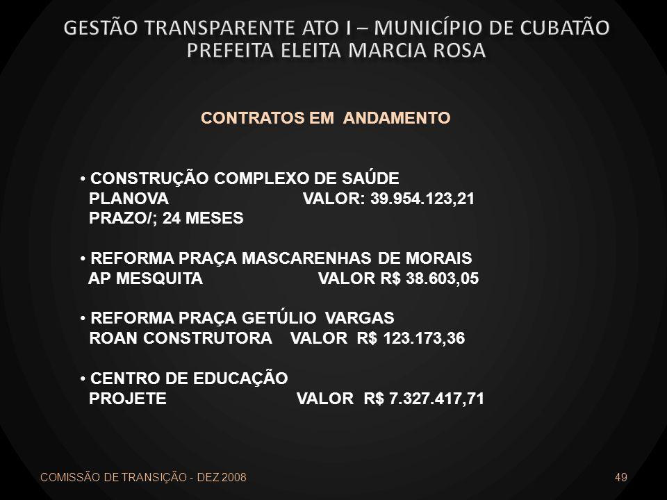 COMISSÃO DE TRANSIÇÃO - DEZ 2008 49 CONTRATOS EM ANDAMENTO CONSTRUÇÃO COMPLEXO DE SAÚDE PLANOVA VALOR: 39.954.123,21 PRAZO/; 24 MESES REFORMA PRAÇA MA