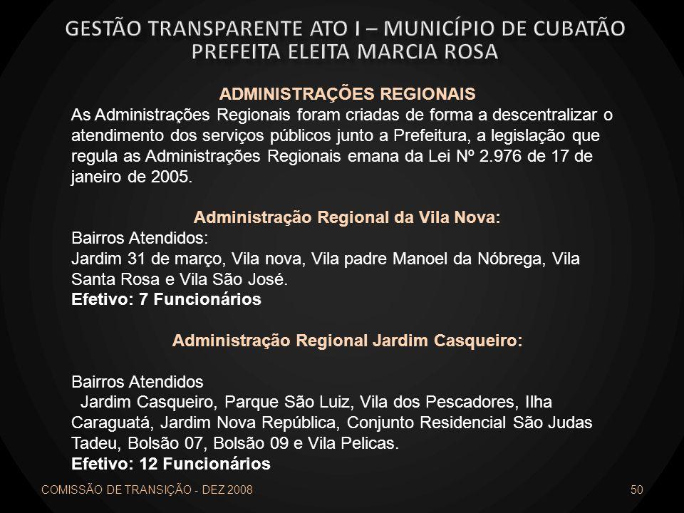 COMISSÃO DE TRANSIÇÃO - DEZ 2008 50 ADMINISTRAÇÕES REGIONAIS As Administrações Regionais foram criadas de forma a descentralizar o atendimento dos ser