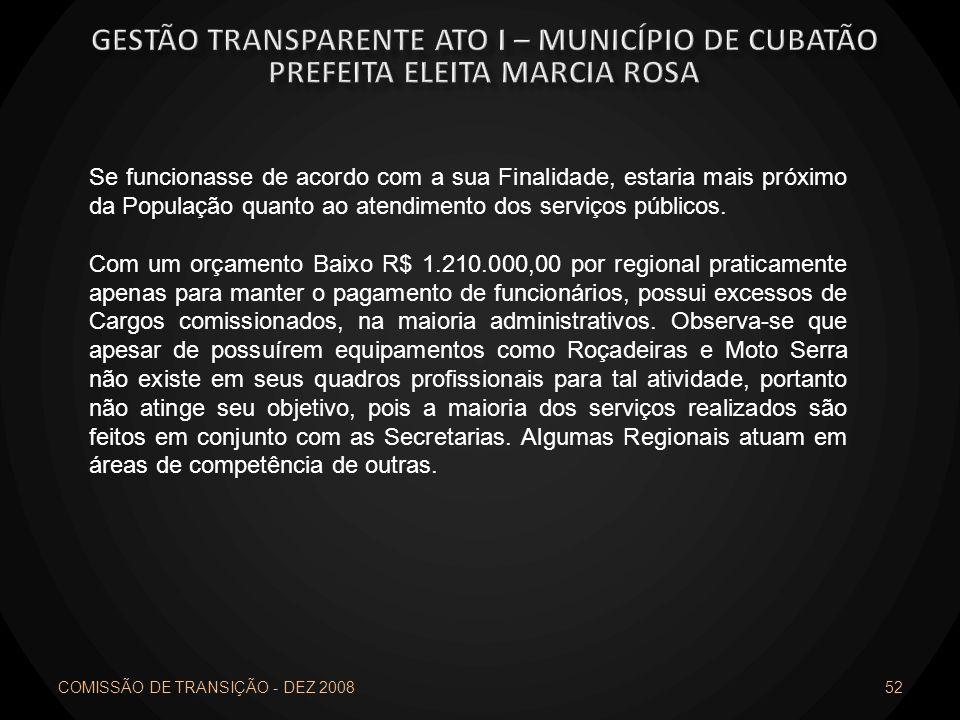 COMISSÃO DE TRANSIÇÃO - DEZ 2008 52 Se funcionasse de acordo com a sua Finalidade, estaria mais próximo da População quanto ao atendimento dos serviço