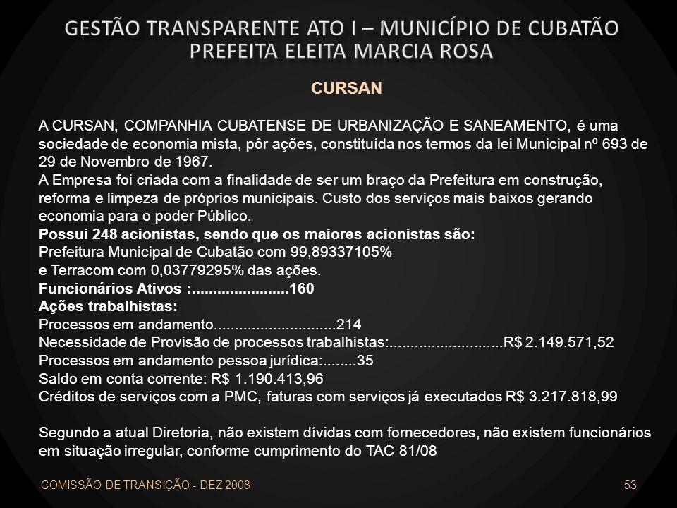 COMISSÃO DE TRANSIÇÃO - DEZ 2008 53 CURSAN A CURSAN, COMPANHIA CUBATENSE DE URBANIZAÇÃO E SANEAMENTO, é uma sociedade de economia mista, pôr ações, co