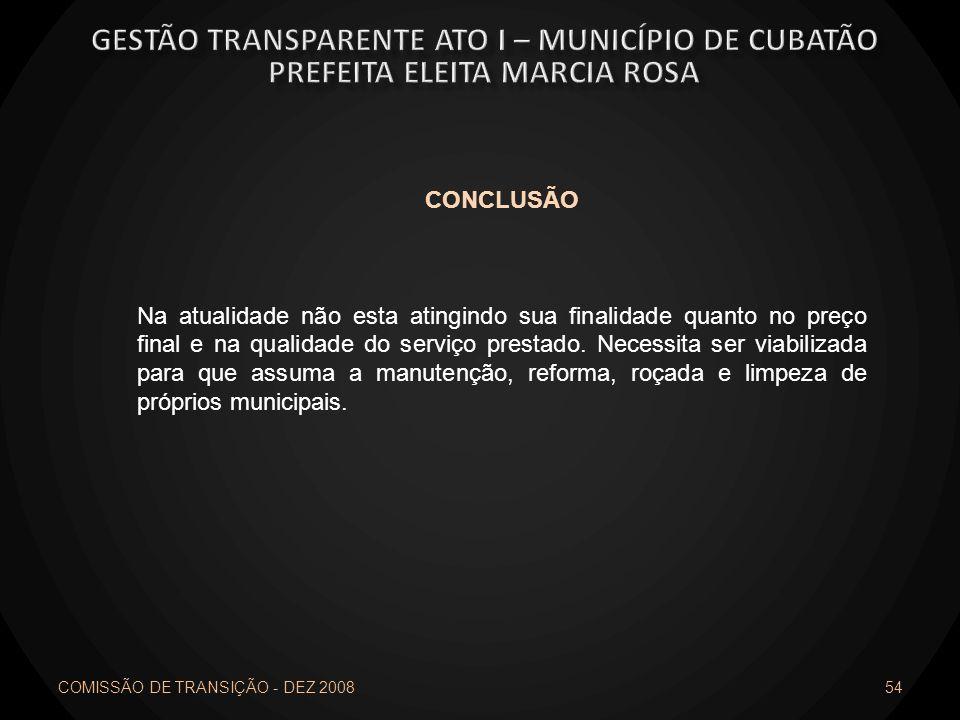 COMISSÃO DE TRANSIÇÃO - DEZ 2008 54 CONCLUSÃO Na atualidade não esta atingindo sua finalidade quanto no preço final e na qualidade do serviço prestado