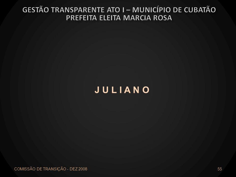 COMISSÃO DE TRANSIÇÃO - DEZ 2008 55 J U L I A N O