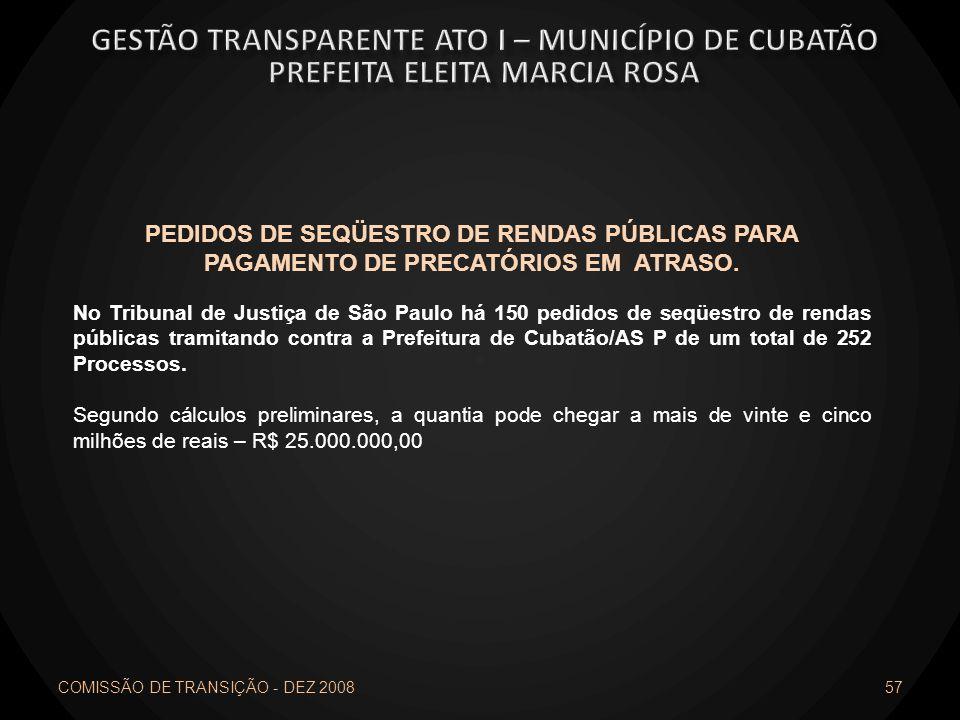 COMISSÃO DE TRANSIÇÃO - DEZ 2008 57 PEDIDOS DE SEQÜESTRO DE RENDAS PÚBLICAS PARA PAGAMENTO DE PRECATÓRIOS EM ATRASO. No Tribunal de Justiça de São Pau