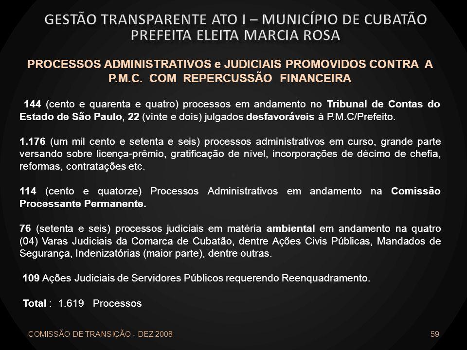 59 PROCESSOS ADMINISTRATIVOS e JUDICIAIS PROMOVIDOS CONTRA A P.M.C. COM REPERCUSSÃO FINANCEIRA 144 (cento e quarenta e quatro) processos em andamento