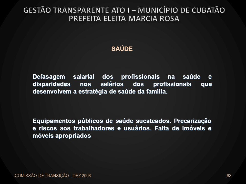 COMISSÃO DE TRANSIÇÃO - DEZ 2008 63 SAÚDE Defasagem salarial dos profissionais na saúde e disparidades nos salários dos profissionais que desenvolvem