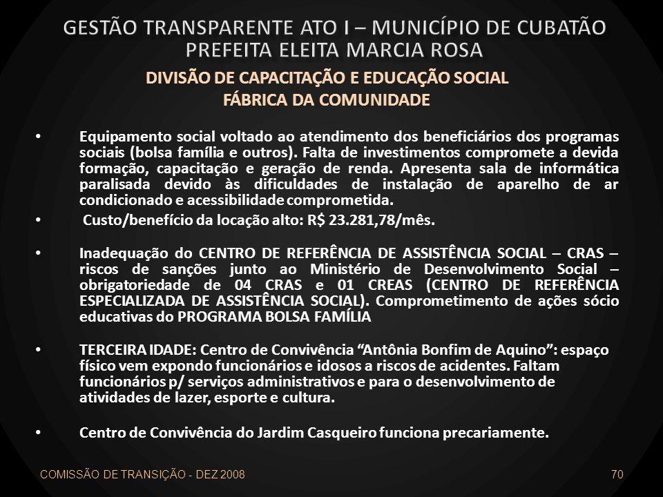 DIVISÃO DE CAPACITAÇÃO E EDUCAÇÃO SOCIAL FÁBRICA DA COMUNIDADE Equipamento social voltado ao atendimento dos beneficiários dos programas sociais (bols