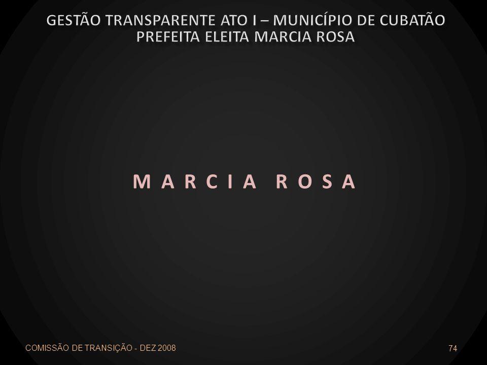 COMISSÃO DE TRANSIÇÃO - DEZ 2008 74 M A R C I A R O S A