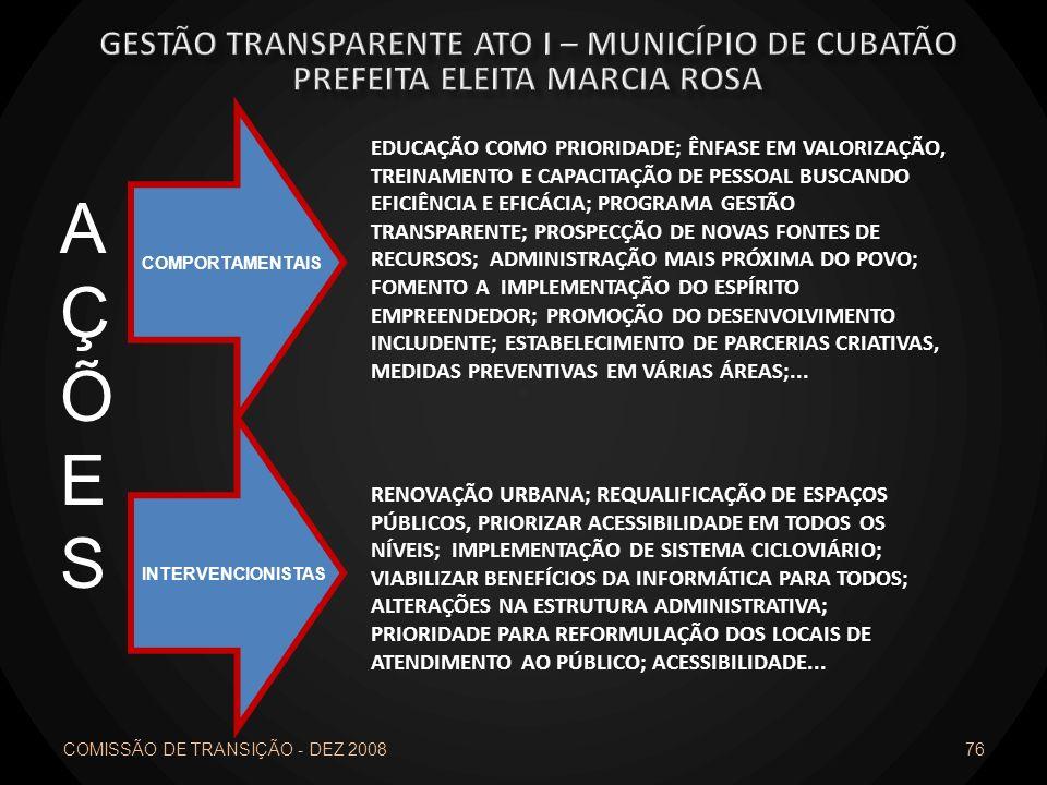 COMISSÃO DE TRANSIÇÃO - DEZ 2008 76 AÇÕESAÇÕES INTERVENCIONISTAS COMPORTAMENTAIS EDUCAÇÃO COMO PRIORIDADE; ÊNFASE EM VALORIZAÇÃO, TREINAMENTO E CAPACI