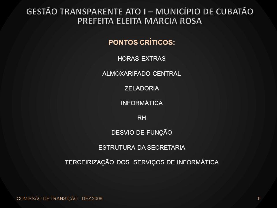 PONTOS CRÍTICOS: HORAS EXTRAS ALMOXARIFADO CENTRAL ZELADORIA INFORMÁTICA RH DESVIO DE FUNÇÃO ESTRUTURA DA SECRETARIA TERCEIRIZAÇÃO DOS SERVIÇOS DE INF