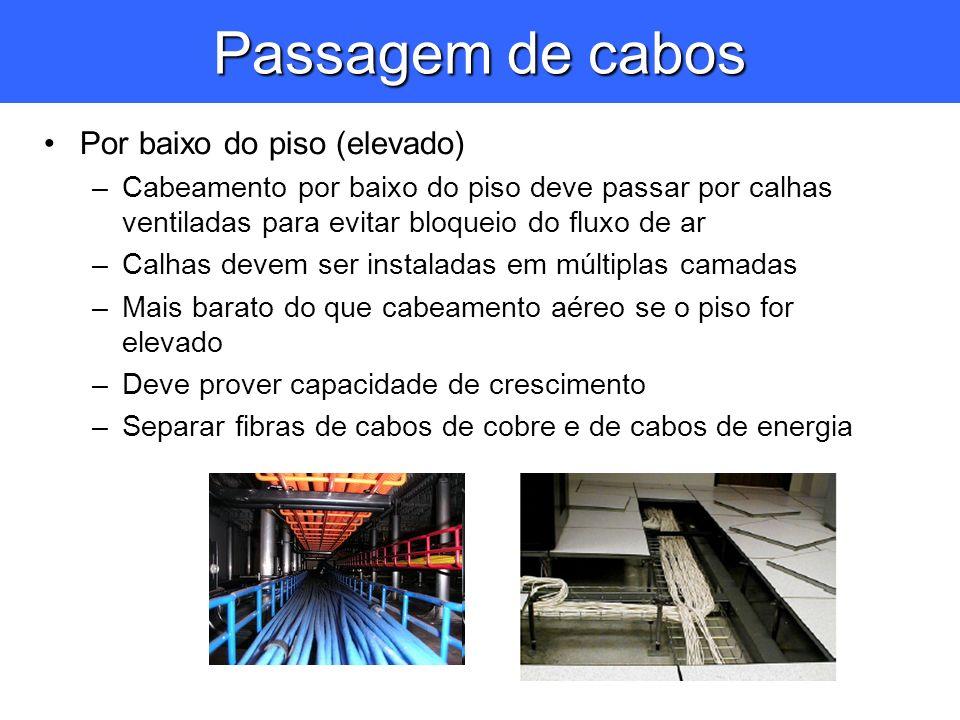 Passagem de cabos Por baixo do piso (elevado) –Cabeamento por baixo do piso deve passar por calhas ventiladas para evitar bloqueio do fluxo de ar –Cal