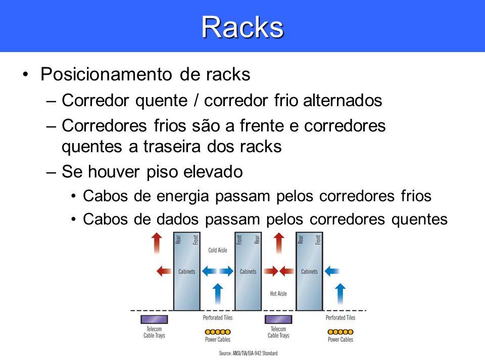 Racks Posicionamento de racks –Corredor quente / corredor frio alternados –Corredores frios são a frente e corredores quentes a traseira dos racks –Se