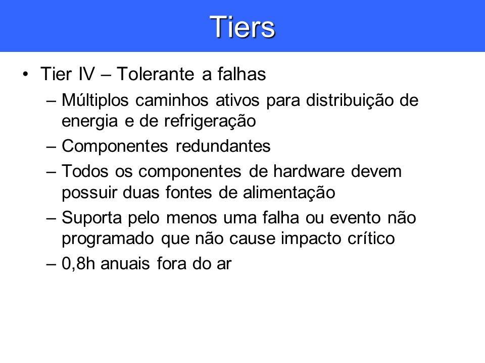 Tiers Tier IV – Tolerante a falhas –Múltiplos caminhos ativos para distribuição de energia e de refrigeração –Componentes redundantes –Todos os compon