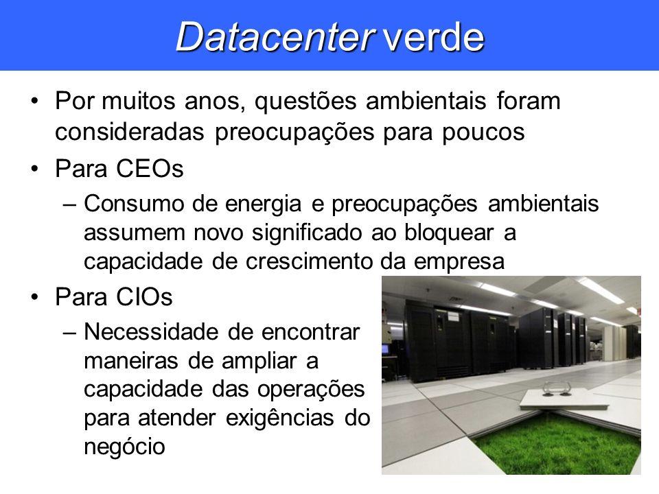 Datacenter verde Por muitos anos, questões ambientais foram consideradas preocupações para poucos Para CEOs –Consumo de energia e preocupações ambient