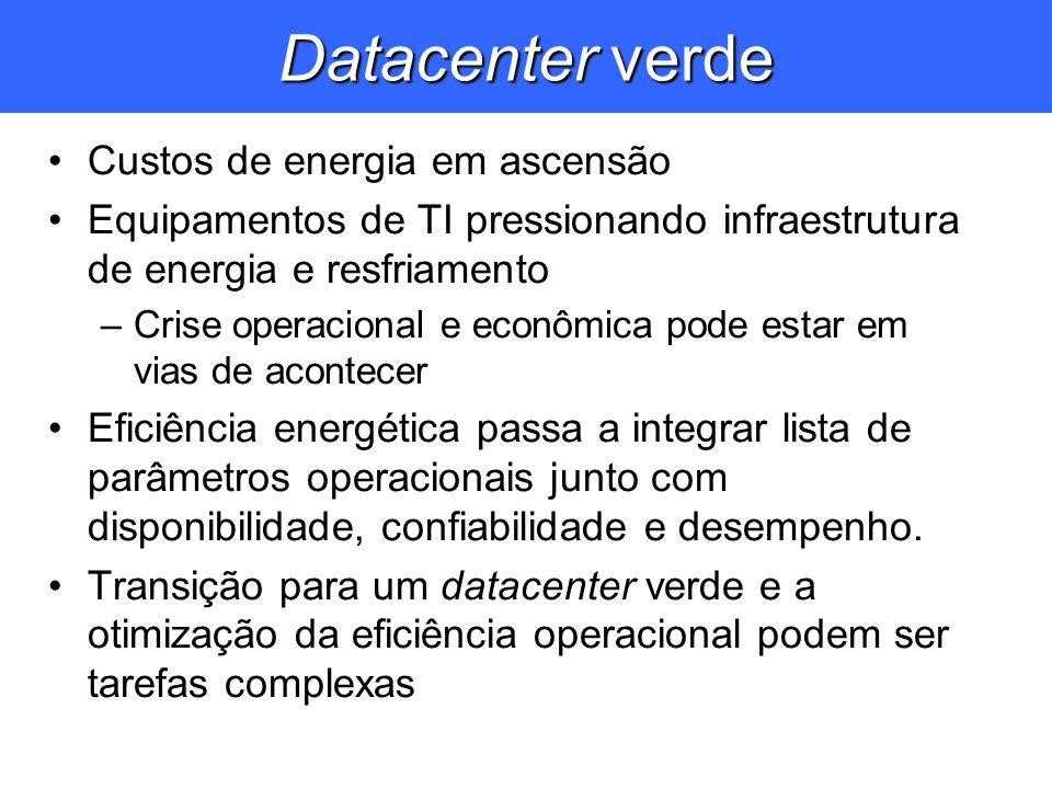 Datacenter verde Custos de energia em ascensão Equipamentos de TI pressionando infraestrutura de energia e resfriamento –Crise operacional e econômica