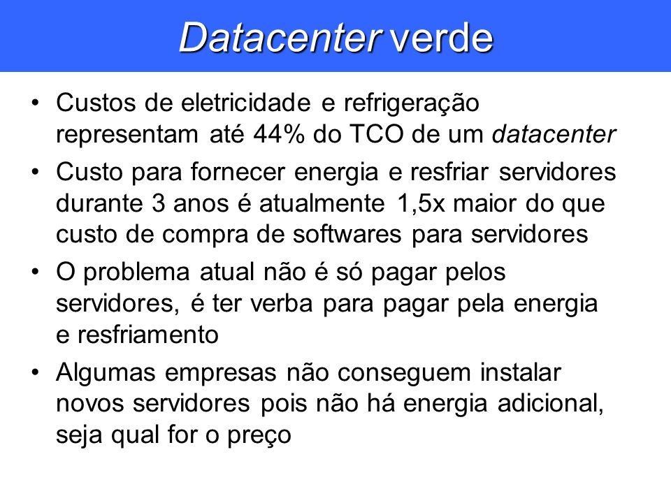 Datacenter verde Custos de eletricidade e refrigeração representam até 44% do TCO de um datacenter Custo para fornecer energia e resfriar servidores d