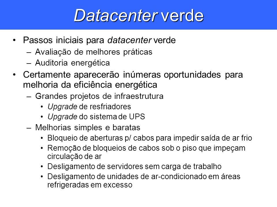 Datacenter verde Passos iniciais para datacenter verde –Avaliação de melhores práticas –Auditoria energética Certamente aparecerão inúmeras oportunida