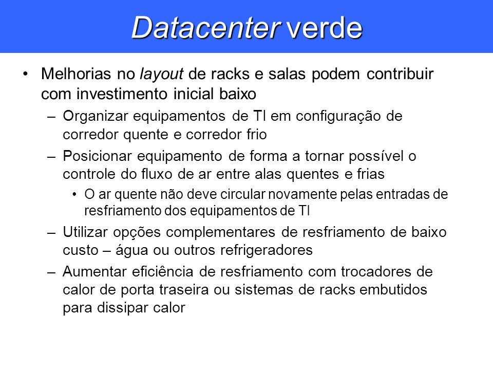 Datacenter verde Melhorias no layout de racks e salas podem contribuir com investimento inicial baixo –Organizar equipamentos de TI em configuração de