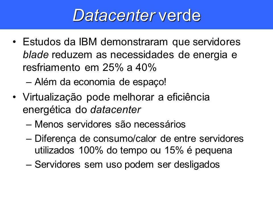 Datacenter verde Estudos da IBM demonstraram que servidores blade reduzem as necessidades de energia e resfriamento em 25% a 40% –Além da economia de